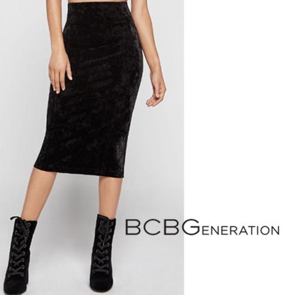 b256fff51 BCBGeneration Skirts | Crushed Velvet Corset Pencil Skirt | Poshmark